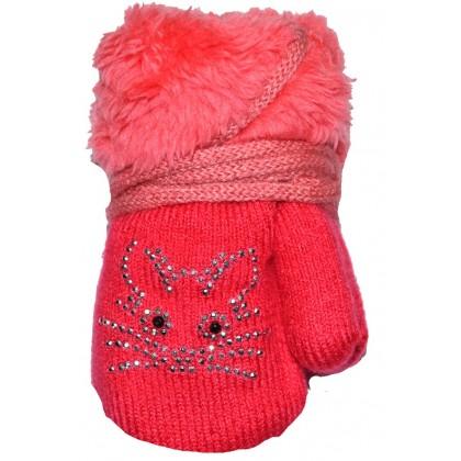 Бебешки ръкавици 6-18 месеца в розово.