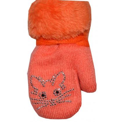 Бебешки ръкавици 6-18 месеца в оранжево.