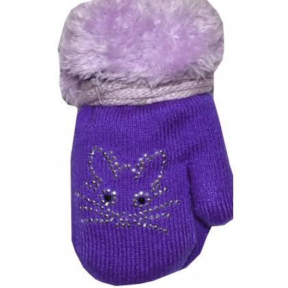 Бебешки ръкавици 6-18 месеца в лилаво.