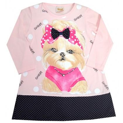 Детска туника-рокля КУЧЕ 2-6 години в розово.