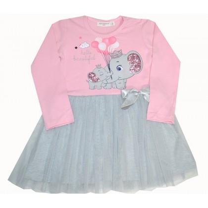 Детска рокля СЛОНЧЕ 92-116 ръст в розово.