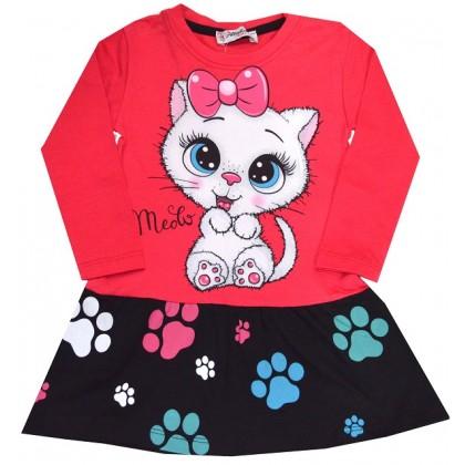 Детска рокля КОТЕ 1-3 години в червено.