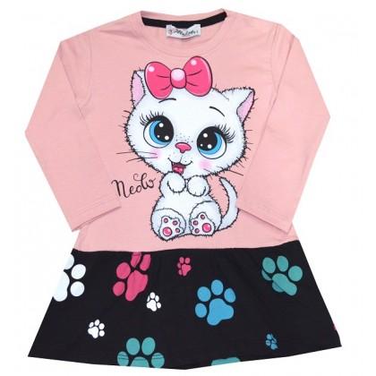 Детска рокля КОТЕ 1-3 години в розово.