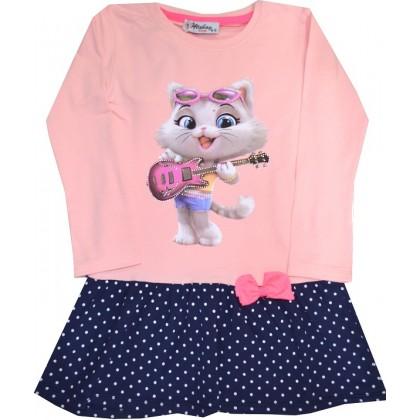 Детска рокля КОТЕ С КИТАРА 4-6 години.