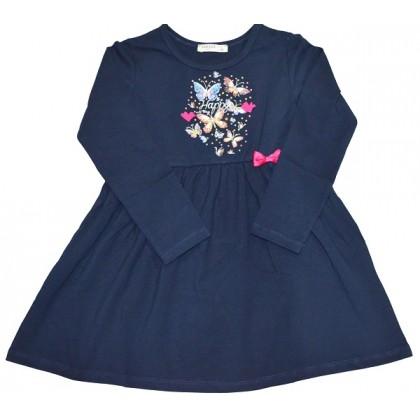 Детска рокля ЦВЕТНИ ПЕПЕРУДИ 104-128 ръст в тъмно синьо.