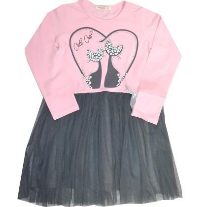 Детска рокля КОТКИ 116-152 ръст в розово.