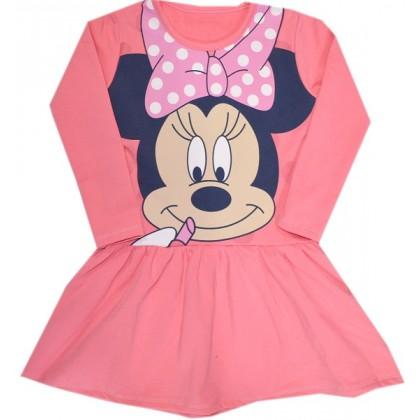 Ватирана детска рокля СЕВТЕКС 98-128 ръст в розово.