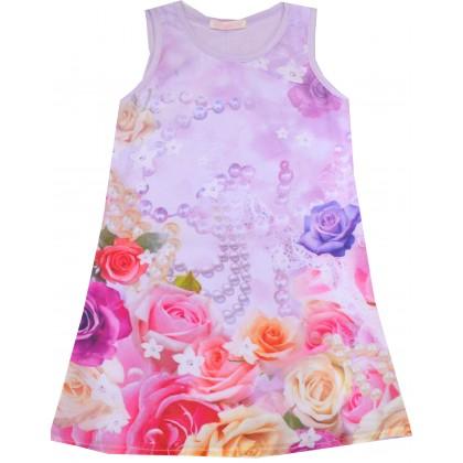 Детска рокля РОЗИ 104-134 ръст в лилаво.