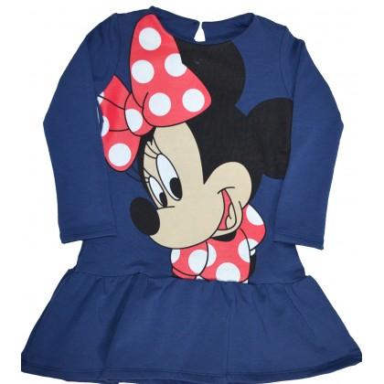 Ватирана детска рокля  98-128 ръст в тъмно синьо.
