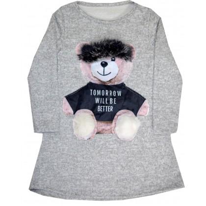 Детска туника-рокля МЕЧЕ 4-12 години в сиво.