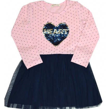 Детска рокля BREEZE СЪРЦЕ 110-140 ръст в розово.
