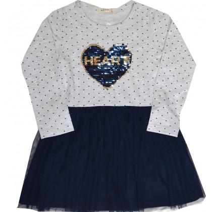 Детска рокля BREEZE СЪРЦЕ 110-140 ръст в сиво.