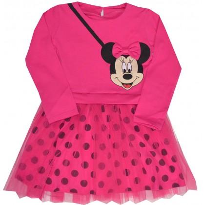 Детска рокля МИНИ МАУС 98-122 ръст в циклама.