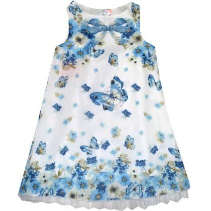 Детска рокля СИНИ ПЕПЕРУДИ 6-8 години.