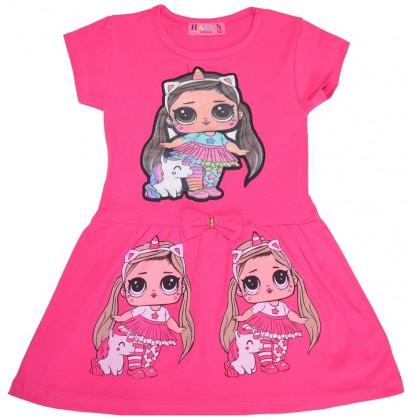 Светеща детска рокля ЛОЛ 2-5 години в циклама.