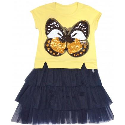 Детска рокля ПЕПЕРУДА 116-128 ръст в жълто.