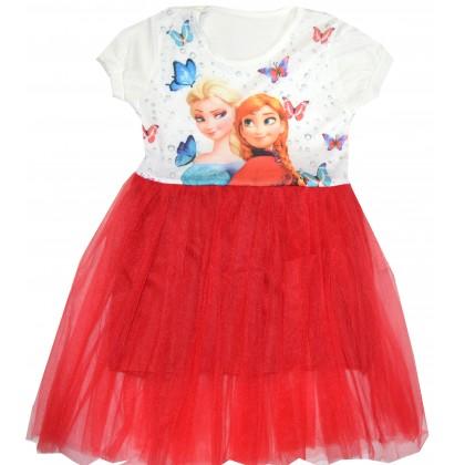 Детска рокля АНА И ЕЛЗА 3-4 години в червено.