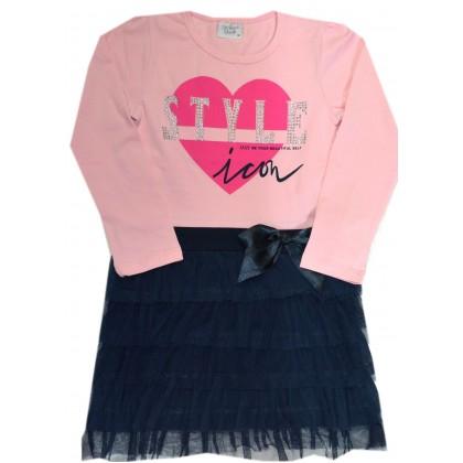 Детска рокля СЪРЦЕ 110-140 ръст в розово.