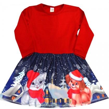 Детска рокля КУЧЕ И КОТЕ 92-116 ръст.