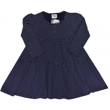 Детска рокля ТЪМНО СИНЯ НА ТОЧКИ 1-5 години.
