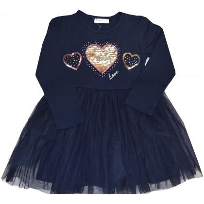 Детска рокля СРЕБЪРНО СЪРЦЕ 98-128 ръст в тъмно синьо.