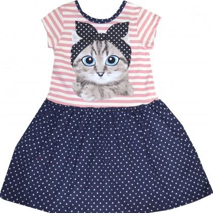 Детска рокля КОТЕ С ЛЕНТА 3-7 години.
