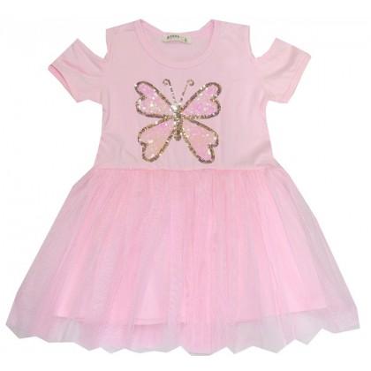 Детска рокля ПЕПЕРУДА 98-128 ръст в розово.