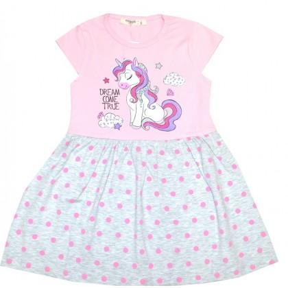 Детска рокля ПОНИ 98-128 ръст в розово BREEZE.