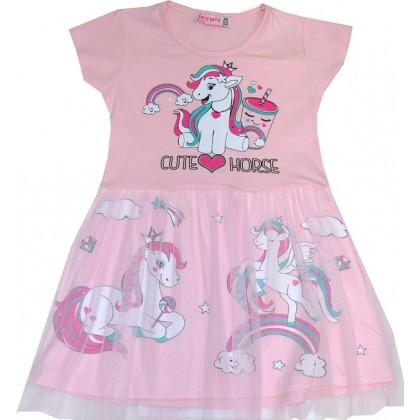 Детска рокля ПОНИ 2-4 години в розово.