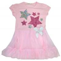 Детска рокля BREZZE ЗВЕЗДИ 98-128 ръст в розово.