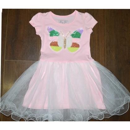 Детска рокля ЦВЕТНА ПЕПЕРУДА 116-152 ръст в розово.