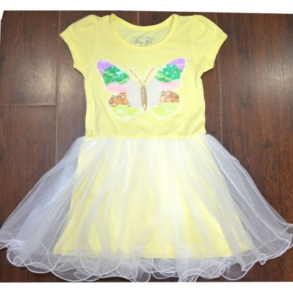 Детска рокля ЦВЕТНА ПЕПЕРУДА 116-152 ръст в жълто