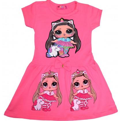 Светеща детска рокля ЛОЛ 2-5 години в розово.