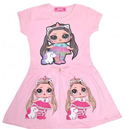 Светеща детска рокля ЛОЛ 2-5 години в нежно розово.