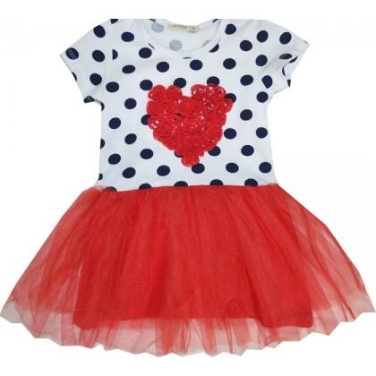 Детска рокля ЧЕРВЕНО СЪРЦЕ 98-128 ръст.