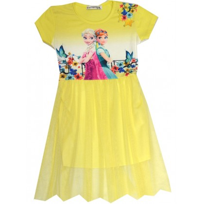 Детска рокля АЕ 98-122 ръст в жълто.