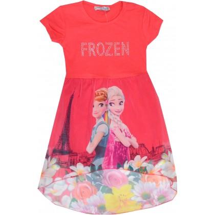 Детска рокля АНА И ЕЛЗА 98-122 ръст в червено.