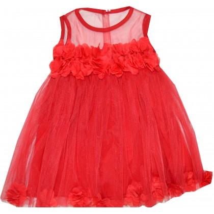 Детска рокля РОЗИ 80-110 ръст в червено.