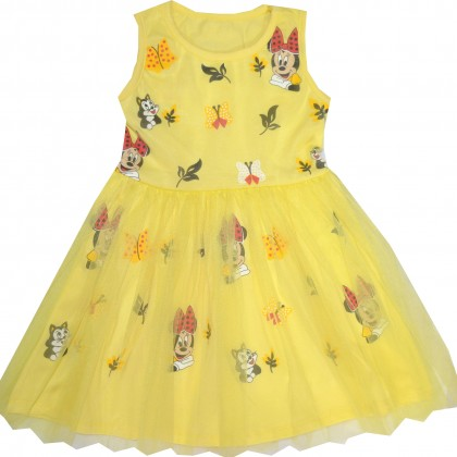 Детска рокля МИНИ МАУС 98-128 ръст в жълто.