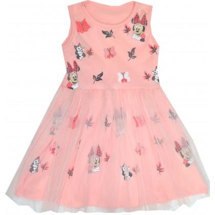 Детска рокля МИНИ МАУС 98-128 ръст в праскова.