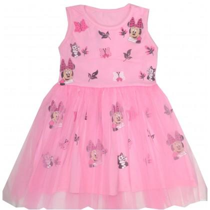 Детска рокля МИНИ МАУС 98-128 ръст в розово.