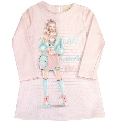 Детска рокля MONSTER 4-7 години в розово.