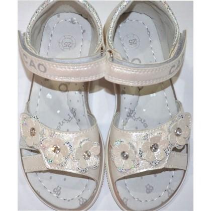 Бели детски сандали ЦВЕТЯ 25-30 номер затворена пета.