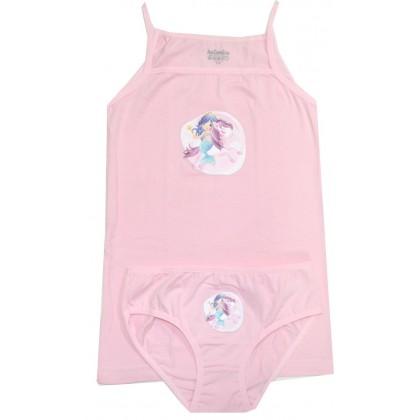 Комплект бельо за момиче РУСАЛКА 3-8 години в розово КАТАМИНО.
