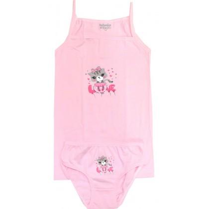 Комплект бельо за момиче КОТЕ 3-8 годин в розово КАТАМИНО.