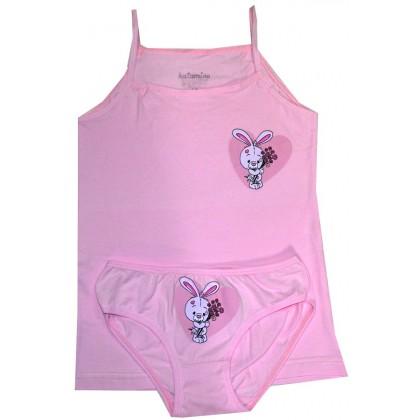 Комплект бельо за момиче ЗАЙЧЕ 3-10 години в розово КАТАМИНО.