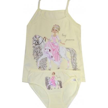 Комплект бельо за момиче ПРИНЦЕСА 2-10 години в жълто.