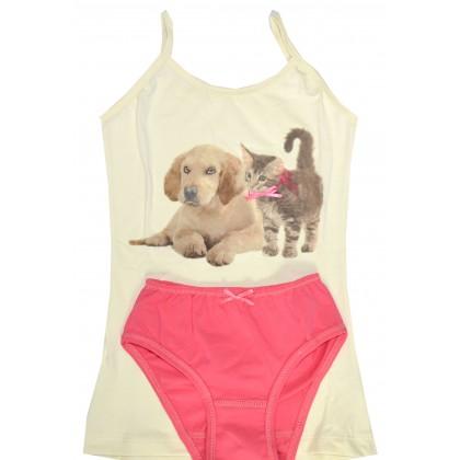 Комплект бельо КУЧЕ И КОТЕ 6-9 години с бикина.