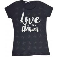 Юношеска блуза LOVE 12-16 години в черно.