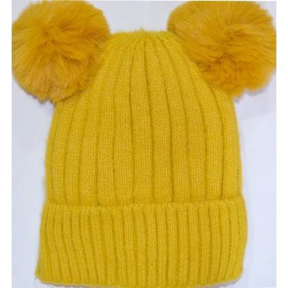 Детска шапка КАЛИНА 6-12 години в жълто.